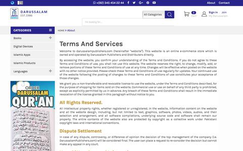 Screenshot of Terms Page darussalampublishers.com - Terms |        Darussalam Publishers - captured Aug. 5, 2018