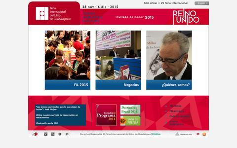Screenshot of Home Page fil.com.mx - Bienvenido a la  Feria Internacional del Libro de Guadalajara - captured Jan. 26, 2015