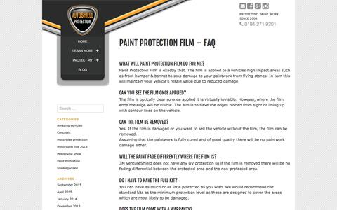 Screenshot of FAQ Page autoshield-protection.co.uk - Paint protection film - FAQ - Autoshield protection - captured Oct. 9, 2017