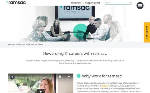 Screenshot of Jobs Page ramsac.com - Careers - ramsac - captured Nov. 6, 2019