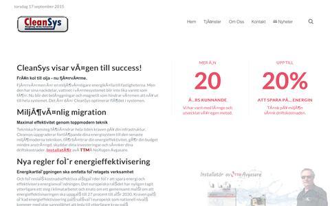 Screenshot of Home Page cleansys.se - Hem - CleanSys - Rengör Kylsystem och Värmesystem - captured Sept. 17, 2015
