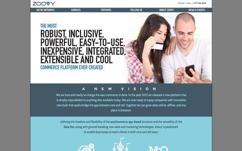 Screenshot of Home Page zoovy.com captured Sept. 23, 2014