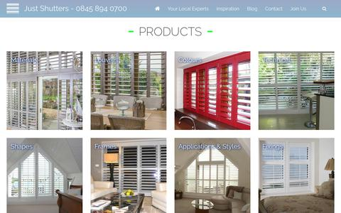 Screenshot of Products Page justshutters.co.uk - Products | Just Shutters - captured Oct. 14, 2018