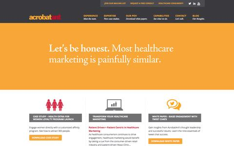 Screenshot of Home Page acrobatanthealthcaremarketing.com - AcrobatAnt Healthcare Marketing - Tulsa OK | Healthcare Marketing & Advertising | Hospital Marketing - captured Oct. 4, 2014