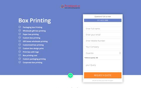 Screenshot of Landing Page printland.in - Box printing, custom box design printing, customized box printing, corporate box printing, print box with logo - captured May 10, 2017