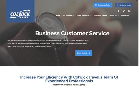 Screenshot of Support Page colwick.com - Business Travel Agency – Colwick Travel - captured Nov. 9, 2016