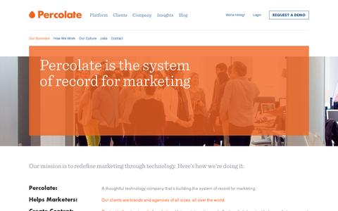 Screenshot of About Page percolate.com - Percolate | A Thoughtful Technology Company in NYC - captured July 19, 2014