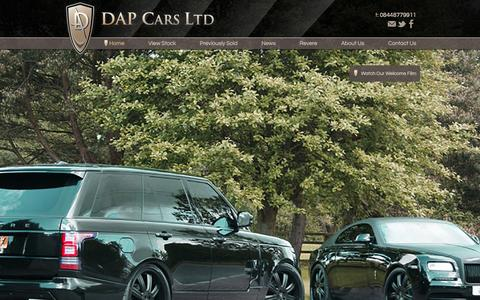 Screenshot of Home Page dapcars.co.uk - DAP Cars Ltd, Range Rover Revere, Porsche, Techart, bespoke and custom cars and 4x4 in Nether Alderley, Cheshire - captured Feb. 8, 2016