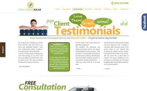 Screenshot of Testimonials Page cleanchoicesolar.com - Solar Testimonials - Clean Choice Solar customers are raving fans! | Clean Choice Solar - captured Sept. 29, 2014