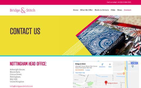 Screenshot of Contact Page bridgeandstitch.com - Contact – Bridge & Stitch - captured Oct. 6, 2018