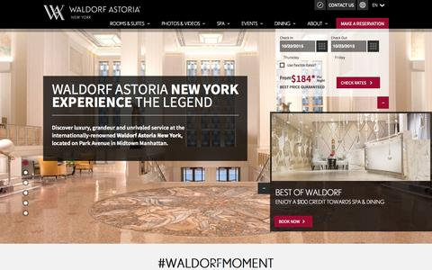 Screenshot of Home Page waldorfnewyork.com - Luxury Manhattan Hotel | Waldorf Astoria New York & Towers, NYC - captured Oct. 22, 2015