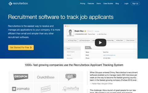 Screenshot of Home Page recruiterbox.com - Recruiting Software and Applicant Tracking System | Recruiterbox.com - captured Oct. 1, 2015