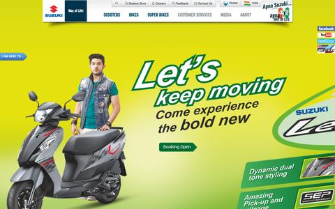 Screenshot of Home Page suzukimotorcycle.co.in - Two Wheeler Manufacturers in India - Best Bikes, Motorcycles & Scooters | Suzuki Motorcycle India Private Limited - captured Oct. 1, 2015