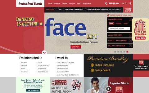 Screenshot of Home Page indusind.com - Personal Banking, NRI Banking, Personal Loan & Home Loans - Indusind Bank - captured Nov. 3, 2015
