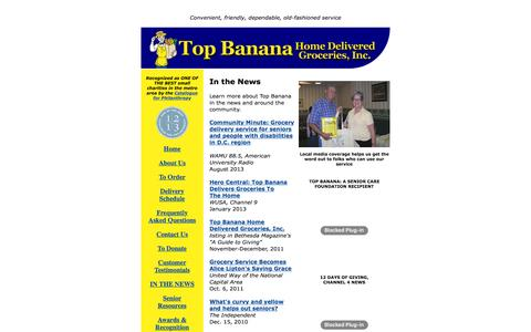 Screenshot of Press Page topbananagrocer.org - In the News | Top Banana Home Delivered Groceries - captured June 22, 2016