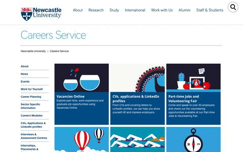 Screenshot of Jobs Page ncl.ac.uk - Careers Service - Careers Service - Newcastle University - captured Sept. 22, 2018