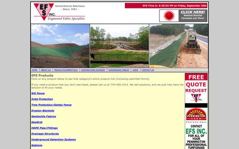 Screenshot of Products Page efsinc.net - Engineered Fabric Specialists Atlanta Georgia Geotextile Erosion Control Products Page - captured Sept. 26, 2014
