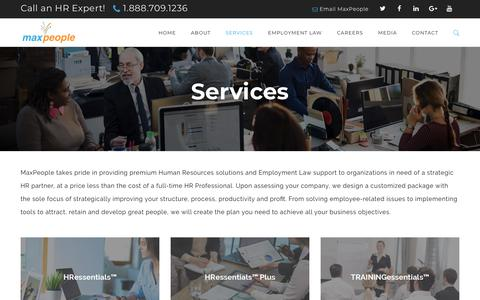 Screenshot of Services Page maxpeoplehr.com - Premium HR Consulting Support Services & Training   MaxPeople - captured Sept. 20, 2018