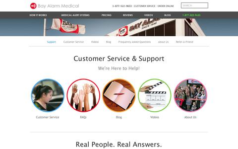 Screenshot of About Page Contact Page Support Page bayalarmmedical.com - Customer Service | Bay Alarm Medical From $25/Mon. - captured July 28, 2016