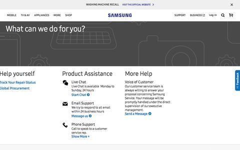Screenshot of Contact Page samsung.com - Contact Us   Samsung Australia - captured Oct. 5, 2017