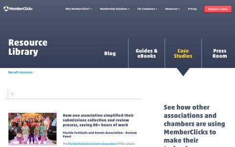 Screenshot of Case Studies Page memberclicks.com - Case Studies - captured July 23, 2019