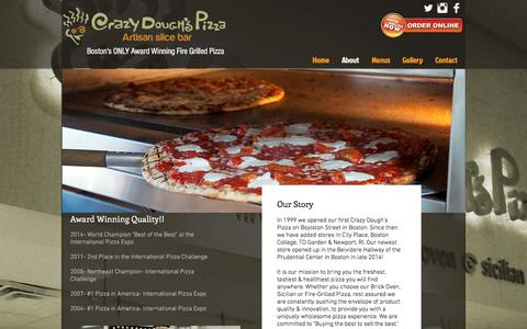 Screenshot of About Page crazydoughs.com - Crazy Dough's Pizza | Boston, MA | Newport RI | Artisan Slice Bar | About - captured Nov. 13, 2016