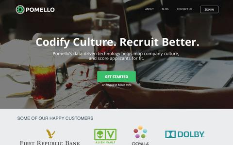 Screenshot of Home Page pomello.com - Pomello | Quantify your company culture, find candidates that fit - captured Nov. 3, 2015