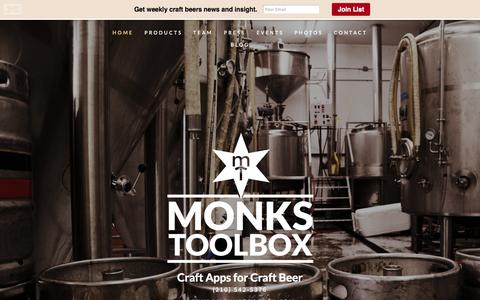 Screenshot of Home Page monkstoolbox.com - MONKS TOOLBOX - captured Sept. 30, 2014