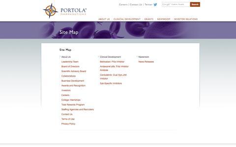 Screenshot of Site Map Page portola.com - Site Map - Portola Pharmaceuticals, Inc. - captured Nov. 8, 2016
