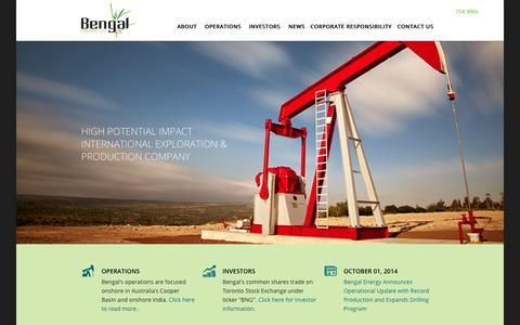 Screenshot of Home Page bengalenergy.ca - Bengal Energy - captured Oct. 5, 2014