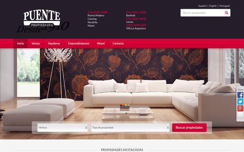 Screenshot of Home Page puente.com.ar - Bienvenido a PUENTE Propiedades - captured Oct. 3, 2014