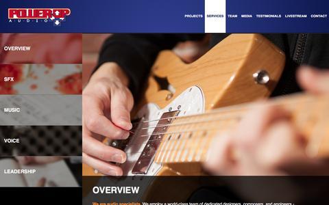 Screenshot of Services Page powerupaudio.com - Power Up Audio - captured Jan. 30, 2016