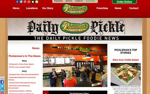 Screenshot of Press Page picklemans.com - Sandwich Delivery | Picklemans News | The Daily Pickle - captured Jan. 28, 2016