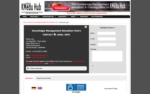 Screenshot of Privacy Page Contact Page kmeducationhub.de - Contact | Knowledge Manangement Education Hub - captured March 24, 2016