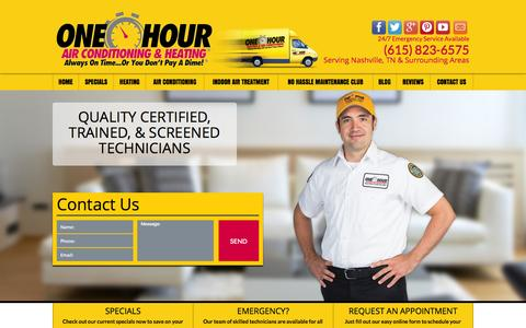 Screenshot of Home Page onehourairnashville.com - Nashville Heating and Air Conditioning Repair - One Hour Heating and Air Conditioning - captured Jan. 26, 2015