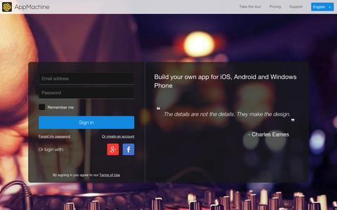Screenshot of Login Page appmachine.com - AppMachine - captured Jan. 19, 2016