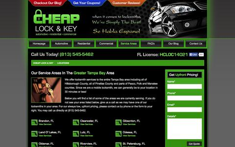 Screenshot of Locations Page cheaplockandkey.com - Locksmith Service Areas In The Greater Tampa Bay Area - Cheap Lock & Key - captured Oct. 26, 2014