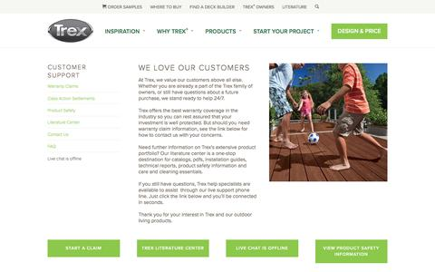 Screenshot of Support Page trex.com - Customer Support | Trex - captured Sept. 24, 2017