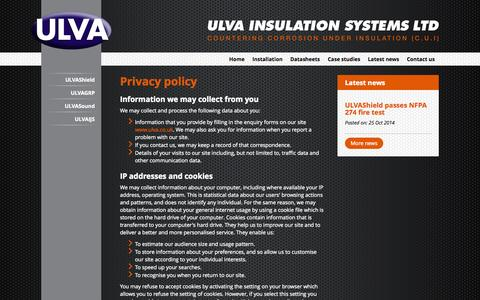 Screenshot of Privacy Page ulva.co.uk - Ulva Insulation Systems Ltd - Privacy policy - captured Nov. 2, 2014
