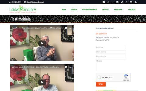 Screenshot of Testimonials Page londonwellness.net - Bonni London Wellness Reviews - Real Patient TestimonialsNutritionist, Dietitian, Weight Loss Programs in Sarasota – London Wellness - captured Sept. 25, 2018