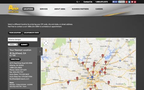 Screenshot of Locations Page abraauto.com - Locations | Auto Body and Auto Glass Windshield Repair, Paintless Dent Removal - captured Sept. 23, 2014