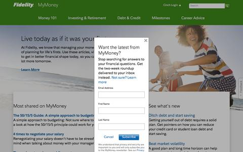 Screenshot of fidelity.com - Learn how to make the most of your money. - captured Feb. 24, 2017