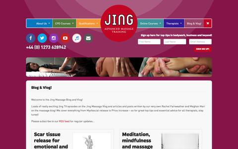 Screenshot of Blog jingmassage.com - Blog & Vlog! Archives - Jing Advanced Massage Training - captured Sept. 20, 2018