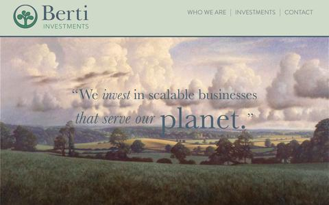 Screenshot of Home Page bertiinvestments.com - Berti Investments | We invest in scalable businesses that serve our planet - captured July 28, 2016