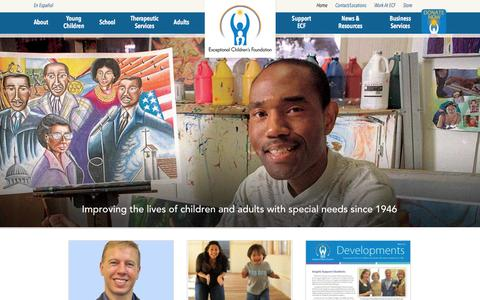 Screenshot of Home Page ecf.net - Exceptional Children's Foundation ǀ Improving the lives of children and adults with special needs since 1946 - captured Jan. 26, 2015