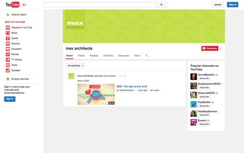 Screenshot of YouTube Page youtube.com - mex architects  - YouTube - captured Oct. 27, 2014