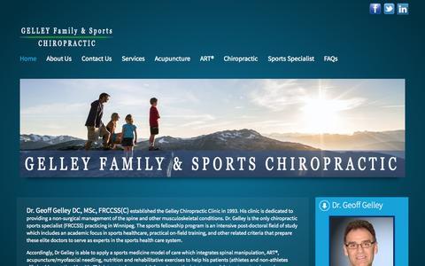Screenshot of Home Page gelleychiropractic.com - Dr. Geoff Gelley Chiropractor, Family & Sports Specialist Winnipeg St. Vital - captured Sept. 20, 2015