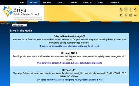 Screenshot of Press Page briya.org - Briya in the Media | Briya Public Charter School - captured Jan. 21, 2016