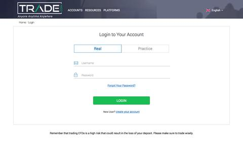 Screenshot of Login Page trade.com - Login | TRADE.com - captured June 22, 2017