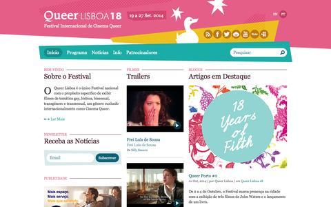 Screenshot of Home Page queerlisboa.pt - Queer Lisboa   Festival Internacional de Cinema Queer - captured Oct. 3, 2014